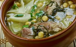 Sulu khingal. Mutton soup with noodles and chickpeas, Azerbaijan cuisine stock photos
