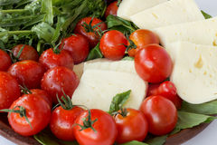Suluguni cheese, tomatoes and ruccola closeup Royalty Free Stock Photos