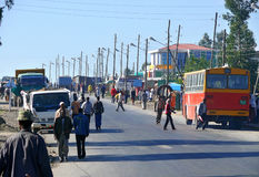 SULULTA, ETHIOPIA - NOVEMBER 25, 2008: Settlement. Busy road in Royalty Free Stock Photography