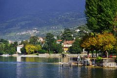 Sulzano - autumn view over Iseo Lake. Sulzano is a comune in the province of Brescia, in Lombardy. It is situated on the east shore of Lake Iseo. Lago d`Iseo or royalty free stock photo