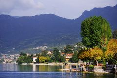 Sulzano - autumn view over Iseo Lake. Sulzano is a comune in the province of Brescia, in Lombardy. It is situated on the east shore of Lake Iseo. Lago d`Iseo or royalty free stock photos