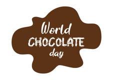 Sumário, bandeira ou cartaz agradável e criativo para o dia do chocolate do mundo com ilustração agradável e criativa do projeto ilustração do vetor