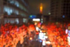 Sumário borrado da torre da iluminação e do Tóquio Imagem de Stock