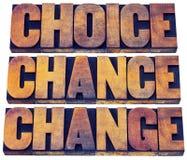 Sumário da palavra da escolha, da possibilidade e da mudança Imagem de Stock Royalty Free