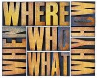 Sumário da palavra das perguntas no tipo de madeira Foto de Stock