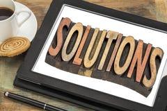 Sumário da palavra das soluções dentro na tabuleta digital Imagem de Stock
