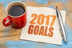 sumário da palavra de 2017 objetivos no guardanapo Fotografia de Stock Royalty Free