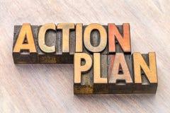 Sumário da palavra do plano de ação no tipo de madeira Fotos de Stock