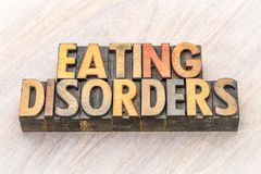 Sumário da palavra dos distúrbios alimentares no tipo de madeira fotos de stock royalty free
