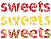 Sumário da palavra dos doces Imagem de Stock
