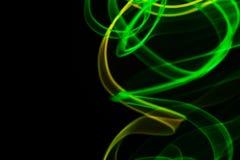 Sum?rio de n?on de n?on e verde amarelo do fumo Linhas de n?on imagens de stock