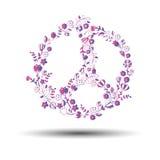 Sumário de tiragem do círculo do pacifismo do vetor da flor do símbolo do sinal de paz ilustração do vetor
