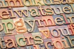 Sumário do alfabeto no tipo de madeira Fotografia de Stock Royalty Free
