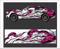 Sumário do carro e do veículo que compete o fundo gráfico do jogo para a etiqueta do envoltório e do vinil ilustração royalty free
