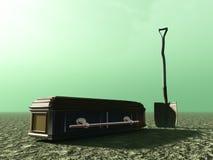 Sumário do enterro com pá e caixão Imagem de Stock Royalty Free