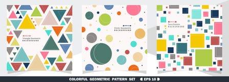 Sumário do fundo geométrico colorido do grupo do pacote do teste padrão ilustração royalty free
