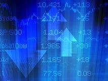 Sumário do mercado de valores de acção no azul Fotografia de Stock