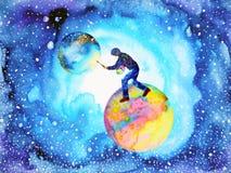 Sumário do universo da lua do mundo da pintura do homem do artista do ilustrador ilustração royalty free