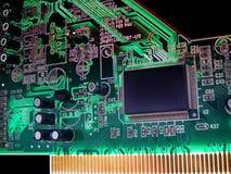 Sumário e placa de circuito digital real de uma placa de som imagem de stock