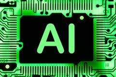 Sumário, fim acima do fundo do computador eletrônico de Mainboard inteligência artificial, ai fotografia de stock royalty free