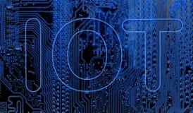 Sumário, fim acima do fundo do computador eletrônico de Mainboard IOT, Internet das coisas fotos de stock