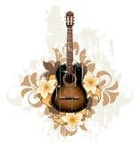 Sumário floral com guitarra ilustração do vetor