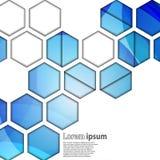 Sumário geométrico do hexágono azul Imagens de Stock