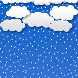 Sumário Gray Clouds e chuva no fundo azul ilustração do vetor