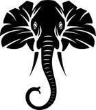 Sumário mostrado em silhueta da cara do elefante ilustração stock