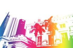 Sumário na moda e moderno do arco-íris de cidade da vida Imagem de Stock Royalty Free