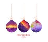 Sumário roxo das bolas do Natal isolado no fundos brancos ilustração do vetor