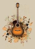 Sumário sujo com a guitarra acústica alaranjada ilustração royalty free
