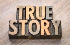 Sumário verdadeiro da palavra da história no tipo de madeira Imagens de Stock