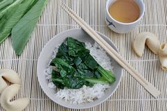 Sum Choy on Steamed Rice royalty free stock image