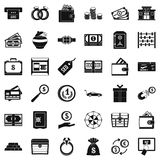 Sum icons set, simple style. Sum icons set. Simple set of 36 sum vector icons for web isolated on white background Royalty Free Stock Images