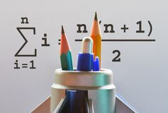 Sum of integers. Mathematical formula used to calculate the sum of integers stock photography