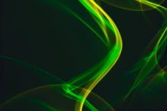 Sum?rio de n?on de n?on e verde amarelo do fumo Linhas de n?on fotos de stock royalty free