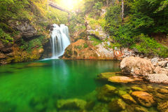 Sum waterfall and wooden bridge in the Vintgar gorge,Slovenia,Europe Stock Photo