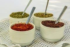 Sumac,薄菏,红色辣椒粉,麝香草 在小碗的干香料 图库摄影