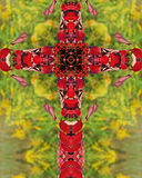 Sumac cross. Kaleidoscope cross from photo of autumn sumac plant, Homestead National Monument of America, Beatrice, Nebraska Royalty Free Stock Images