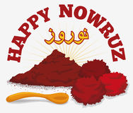 Sumac Powder, Dried Fruits and Spoon for Nowruz, Vector Illustration Royalty Free Stock Photos