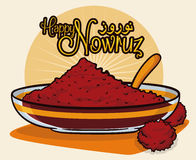 Sumac Powder Symbolizing Color of Sunrise in Nowruz Tradition, Vector Illustration. Sumac spice powder in a translucent bowl and spoon with dried fruits like Royalty Free Stock Images