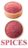 Sumac in a wooden bowl Stock Images