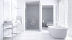 Sumaryczna biała minimalistyczna scandinavian łazienka z sypialnią fotografia royalty free