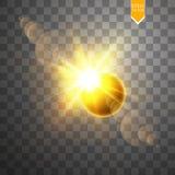Sumaryczna słonecznego zaćmienia wektorowa ilustracja na przejrzystym tle Księżyc w pełni cienia słońca zaćmienie z korona słonec ilustracja wektor
