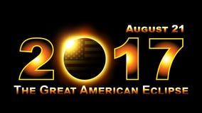 Sumaryczny słoneczny zaćmienie podróżuje przez Zlanych stany America na Sierpień 21st, 2017 Obrazy Royalty Free