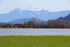 Sumas Mountains and Fraser River Royalty Free Stock Photos