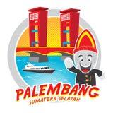 Sumatera selatan Indonesië van Palembang van de Amperabrug geïsoleerde illustratie stock foto