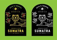 Sumatra Arabica coffee bean label design with tiger stock illustration