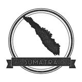Sumatra map stamp. Retro distressed insignia. Hipster round badge with text banner. Island vector illustration Royalty Free Stock Images